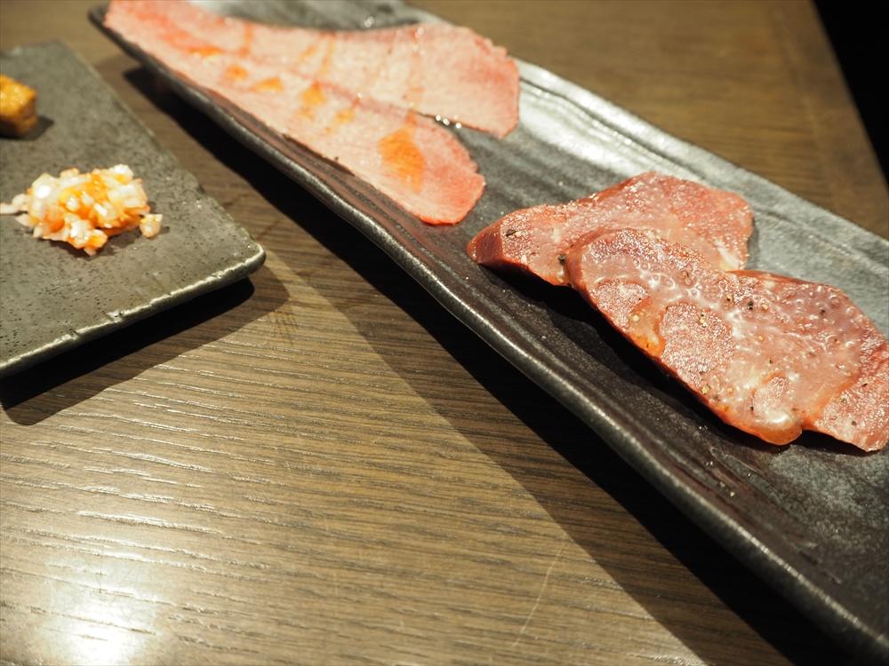 薄切り大判タン・泡醤油で食べるハツ